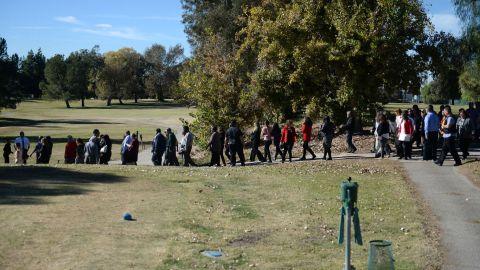 People gather at the San Bernardino Golf Course.