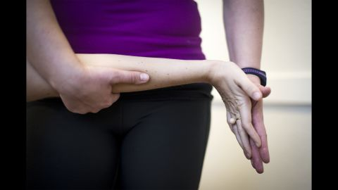 A Danish woman named Camilla works with a physical therapist during a weekly session in December 2014. Camilla has muscular dystrophy, and the exercises aim to stretch the muscles, release them from tension and delay the progress of the disease.