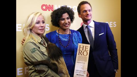 """Neil Patrick Harris presented Top 10 CNN Hero Monique Pool with her award for her work rescuing, rehabilitating and releasing sloths in Suriname. He welcomed her to the stage as """"the person who proves sloth is a virtue."""""""