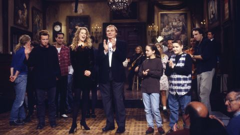 """In November 1993, the band was the musical guest on """"Saturday Night Live."""" From left, Weiland, Nicole Kidman, Adam West, Christina Ricci and Jimmy Workman on the set of the November 20, 1993, episode."""
