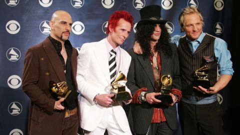 """Weiland's next project was the supergroup Velvet Revolver, which included, from left, Dave Kushner, Weiland, Slash and Matt Sorum. The group won best rock song at the 2005 Grammys. It was Weiland's second Grammy; the first was in 1994 for the Stone Temple Pilots song """"Push."""""""