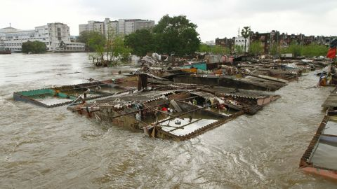 Houses submerged in flood waters in Chennai, December 3.