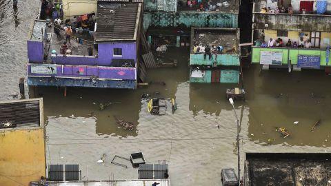 This aerial photo, taken December 3, shows flood-hit Chennai city following heavy monsoon rains.
