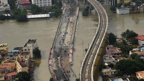 This aerial photo taken December 3 shows flood-hit Chennai city following heavy monsoon rains.
