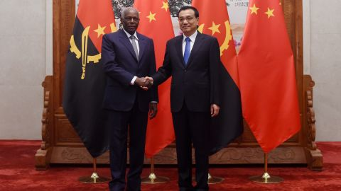Angolan President Jose Eduardo Dos Santos shakes hands with Chinese premier Li Keqiang before their meeting in Beijing, June, 2015. Angola is Africa's second largest oil producer, and their biggest buyer is China.