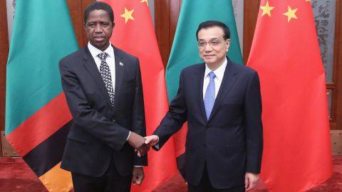 Chinese Premier Li Keqiang shakes hands with Zambia's President Edgar Chagwa Lungu in March, 2015 in Beijing. China has been a huge consumer of Zambia's copper exports.