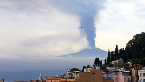 Smoke rises over the Italian city of Taormina during an eruption of Mount Etna, one of the most active volcanoes in the world, in December 2015.