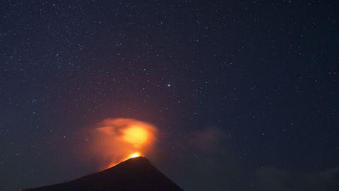 The Momotombo volcano erupts just before daybreak in Leon, Nicaragua, on December 4, 2015. The volcano had been quiet for many years.