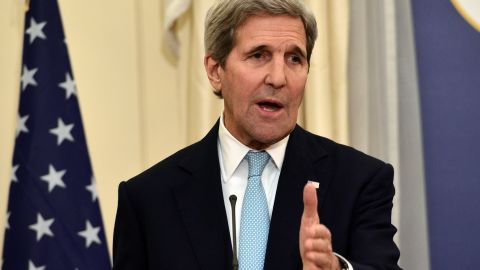 US Secretary of State John Kerry gestures during his statements to the press after meeting with Greek foreign minister at the ministry of foreign affairs in Athens on December 4, 2015. / AFP / LOUISA GOULIAMAKI  (Photo credit should read LOUISA GOULIAMAKI/AFP/Getty Images)
