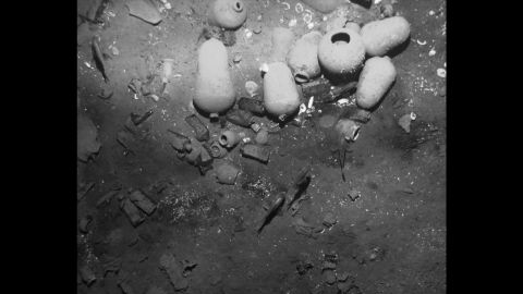 This undated handout picture released on December 5, 2105 by the Colombian Culture Ministry's press office shows the remains of the Spanish galleon San Jose.