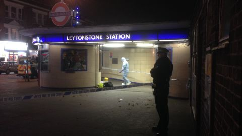 The scene outside the Leytonstone stations after a stabbing incident took place.
