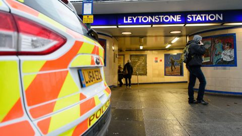 """A police car is seen parked outside Leytonstone station in north London on December 6, 2015. Police were called to reports of people being attacked at Leytonstone around 19:00 GMT on December 5. The police have said that they are considering a knife attack the previous evening as a """" terrorist incident"""" after reports that the man reportedly shouted """"this is for Syria"""". The man was arrested after being Tasered by police. One man suffered serious knife injuries while two others received minor injuries. / AFP / LEON NEAL        (Photo credit should read LEON NEAL/AFP/Getty Images)"""