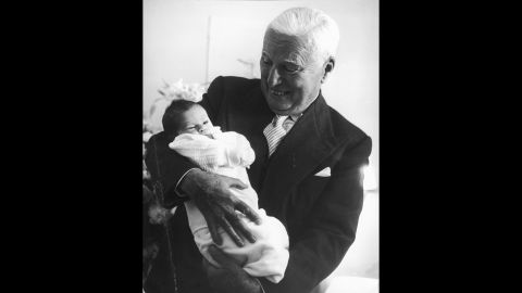 But comic actor Charle Chaplin tops the list. Oona O'Neil, Chaplin's wife, gave birth to their son Christopher when he was 73.