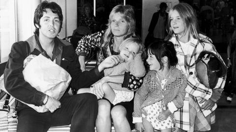The former Beatles singer, Paul McCartney, fathered daughter Beatrice with ex-wife Heather Mills when he was 61. Here he is pictured with his first wife Linda and their daughters in 1974.
