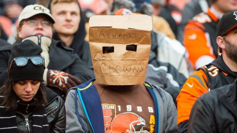 A Cleveland Browns fan expresses their ... disappointment.