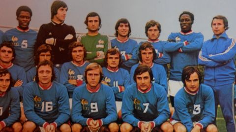 """Adams (back row, second from right) played in a France side that was """"in construction,"""" according to teammate Henri Michel. The only major competition """"Les Bleus"""" contested in the 1970s was the World Cup in 1978, though by then Adams' France career was over. He made his debut in 1972 and finished in 1976."""