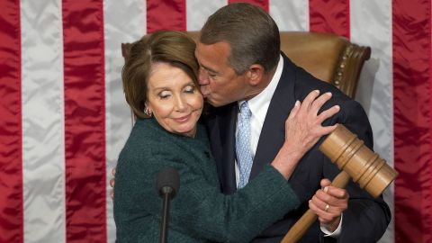 """John Boehner kisses House Minority Leader Nancy Pelosi after <a href=""""http://www.cnn.com/2015/01/06/politics/house-speaker-boehner-vote/index.html"""" target=""""_blank"""">he was elected to a third term</a> as House Speaker on Tuesday, January 6. <a href=""""http://www.cnn.com/2015/09/25/politics/john-boehner-resigning-as-speaker/"""" target=""""_blank"""">He retired</a> at the end of October."""