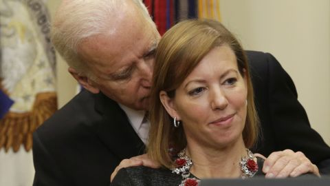 """U.S. Vice President Joe Biden talks to Stephanie Carter as her husband, Ashton Carter, delivers a speech Tuesday, February 17, at the White House. Ashton Carter had just been sworn in as the country's new Secretary of Defense, but it was Biden's hands-on whisper that <a href=""""http://www.cnn.com/2015/02/17/politics/biden-carter-whisper/index.html"""" target=""""_blank"""">went viral on social media.</a>"""