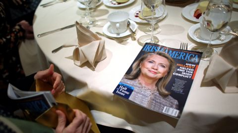 A copy of Irish America magazine shows Hillary Clinton before she was inducted into the Irish America Hall of Fame on Monday, March 16. The magazine founded the Hall of Fame in 2010, recognizing exceptional figures in the Irish-American community.