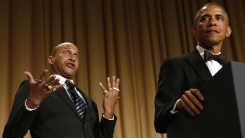 """President Obama speaks next to comedian Keegan-Michael Key -- playing Luther, """"Obama's anger translator"""" -- at the annual White House Correspondents' dinner on Saturday, April 25."""