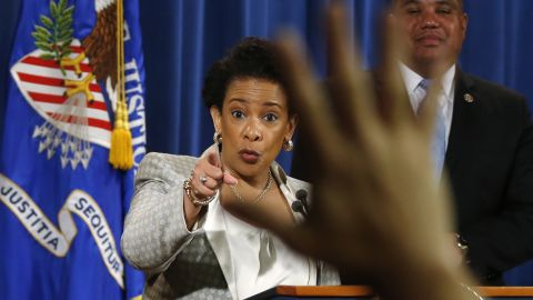 """U.S. Attorney General Loretta Lynch takes questions Friday, May 8, during a news conference where she announced a federal investigation of the Baltimore Police Department. <a href=""""http://www.cnn.com/2015/04/27/us/baltimore-riots-timeline/"""" target=""""_blank"""">Riots broke out</a> throughout the city in April less than a week after 25-year-old Freddie Gray died in police custody. Gray, a black man, was arrested on April 12. According to his attorney, he died a week later from a severe spinal cord injury he received while in police custody. The case raised long-simmering tensions between police and residents, and <a href=""""http://www.cnn.com/2015/09/02/us/baltimore-freddie-gray-death-case/"""" target=""""_blank"""">six police officers were eventually charged</a> in connection with Gray's death."""