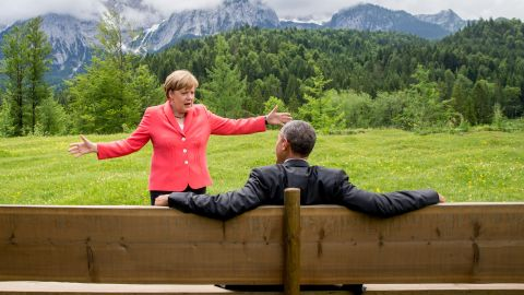 """German Chancellor Angela Merkel talks with U.S. President Barack Obama <a href=""""http://www.cnn.com/2015/06/08/politics/barack-obama-angela-merkel-photo-germany-mountains/"""" target=""""_blank"""">near the Bavarian Alps</a> on Monday, June 8. Obama and other world leaders were in Germany for the annual G-7 Summit."""