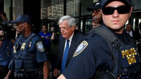 """Former House Speaker Dennis Hastert leaves federal court in Chicago <a href=""""http://www.cnn.com/2015/06/09/politics/dennis-hastert-arraignment-appearing-in-court/"""" target=""""_blank"""">after pleading not guilty</a> to all charges against him on Tuesday, June 9. Federal prosecutors say Hastert lied to the FBI about $3.5 million he agreed to pay to an undisclosed person to """"cover up past misconduct."""" In October, <a href=""""http://www.cnn.com/2015/10/28/politics/dennis-hastert-court-hearing/"""" target=""""_blank"""">Hastert pleaded guilty</a> to hiding money transactions."""