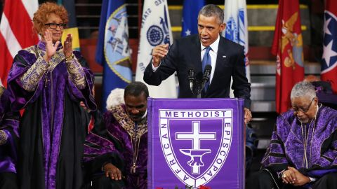 """President Obama delivers the eulogy for <a href=""""http://www.cnn.com/2015/06/26/politics/gallery/pinckney-funeral-charleston/index.html"""" target=""""_blank"""">South Carolina state Sen. Clementa Pinckney</a> on Friday, June 26. Pinckney was a pastor at the Charleston, South Carolina, church where he and eight other people <a href=""""http://www.cnn.com/2015/06/18/us/gallery/charleston-south-carolina-church-shooting/index.html"""" target=""""_blank"""">were fatally shot</a> on June 17. Pinckney was 41 years old. """"We are here today to remember a man of God who lived by faith,"""" Obama said. """"A man who believed in things not seen. A man who believed there were better days ahead, off in the distance. A man of service who persevered knowing full well he would not receive all those things he was promised, because he believed his efforts would provide a better life for those who followed."""""""