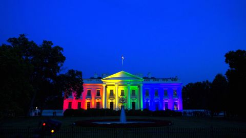 """The White House is lit up in rainbow colors on Friday, June 26, to commemorate the Supreme Court's ruling <a href=""""http://www.cnn.com/2015/06/26/politics/gallery/supreme-court-same-sex-marriage-ruling-photos/index.html"""" target=""""_blank"""">to legalize same-sex marriage.</a>"""