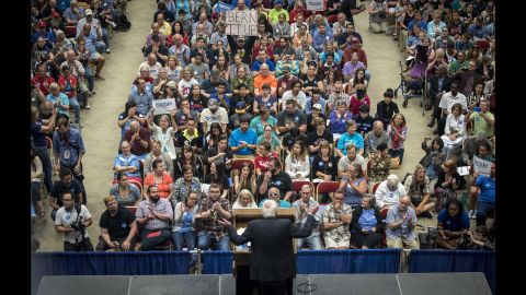 """U.S. Sen. Bernie Sanders, an independent from Vermont who is seeking the Democratic nomination for President, <a href=""""http://www.cnn.com/2015/07/01/politics/bernie-sanders-crowds-wisconsin-2016/index.html"""" target=""""_blank"""">speaks to nearly 10,000 supporters</a> in Madison, Wisconsin, on Wednesday, July 1."""