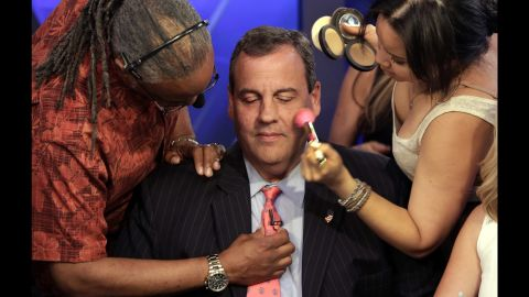 New Jersey Gov. Chris Christie is prepped for a television appearance in New York on Wednesday, July 22. He announced in June that he was seeking the Republican Party's nomination for President.