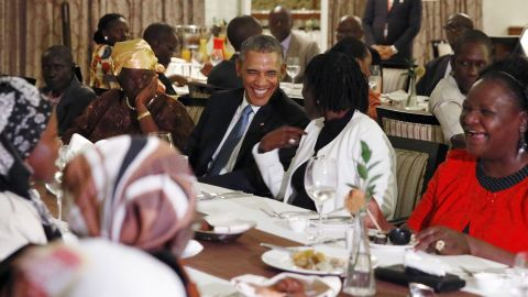 """President Obama attends a private dinner with family members after arriving in Nairobi, Kenya, on Friday, July 24. Obama was making his first visit to his father's homeland as commander in chief. He also visited Ethiopia during <a href=""""http://www.cnn.com/2015/07/25/world/gallery/obama-kenya-ethiopia/index.html"""" target=""""_blank"""">his trip.</a>"""