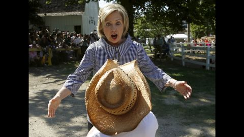 Democratic presidential candidate Hillary Clinton greets someone at the Iowa State Fair on Saturday, August 15. Clinton has been the Democratic front-runner since announcing her candidacy.