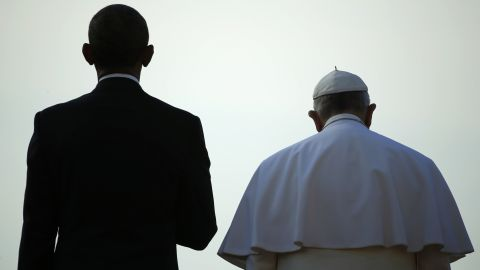 """President Obama stands with Pope Francis during a ceremony at the White House on Wednesday, September 23. The Pope was making <a href=""""http://www.cnn.com/2015/09/22/us/gallery/pope-francis-visits-united-states/index.html"""" target=""""_blank"""">his first visit to the United States,</a> spending time in Washington, New York and Philadelphia."""