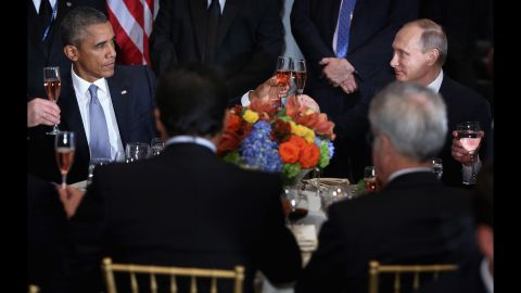 """President Obama shares a toast with Russian President Vladimir Putin at a luncheon in New York hosted by U.N. Secretary-General Ban Ki-moon on Monday, September 28. """"Amid the inevitable trials and setbacks, may we never relax in our pursuit of progress and may we never abandon the pursuit of peace,"""" Obama said before clinking glasses. """"Cheers."""" The two, bitterly at odds over Ukraine and Syria, <a href=""""http://www.cnn.com/2015/09/28/politics/obama-putin-meeting-syria-ukraine/"""" target=""""_blank"""">had a closed-door meeting</a> later in the day."""