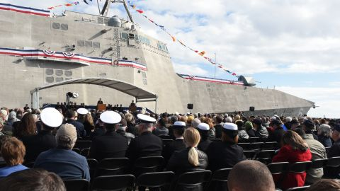 Secretary of the Navy Ray Mabus speaks in Gulfport, Mississippi, at the christening ceremony for the USSJackson in December 2015.