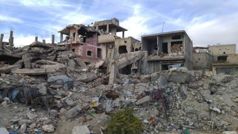 Destruction in Kobani. Officials say more than 70% of the buildings in Kobani were either damaged or destroyed. Kurdish officials say they've already removed 1.6 million tons of rubble.