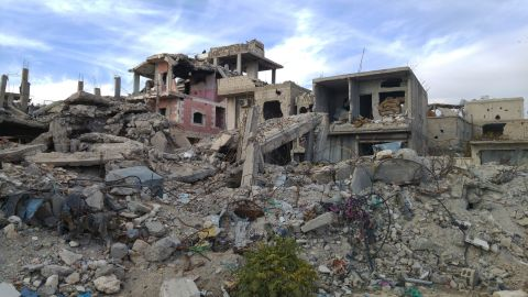 Officials say more than 70% of the buildings in the Syrian city of Kobani have been damaged or destroyed. Kurdish officials say they've already removed 1.6 million tons of rubble.