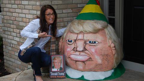 "Donald <a href=""http://www.cnn.com/2015/10/27/living/painted-celebrity-pumpkins-trump-irpt/"">Trumpkin</a>, a 374-pound pumpkin, became the Trumpkin Elf this December. He is modeled after Buddy in the Will Ferrell movie ""Elf."""