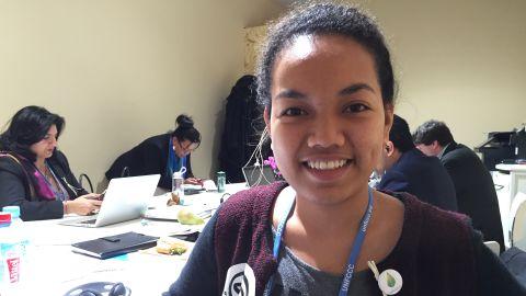Selina Leem at the COP21 summit in Paris.