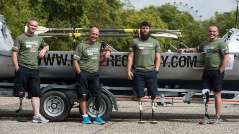 """Gallagher, left, lost his leg in Afghanistan in 2009.  Asked what advice he'd give people bogged down with life's problems, the former Irish Guardsman says: """"I've got not much empathy. People tend to wallow in a sea of self pity. Just man-up! Life throws stuff at you, but you've just got to take it on the chin and crack on with it."""""""