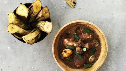 Mafe Sauce, or what is commonly known as 'peanut stew' in Cameroon, can also be enjoyed during this time. This was developed by chef Dieuveil Malonga.  It is made with chicken and is being served with okra. This can be served with a variety of root vegetables or plantain as a side.<br />
