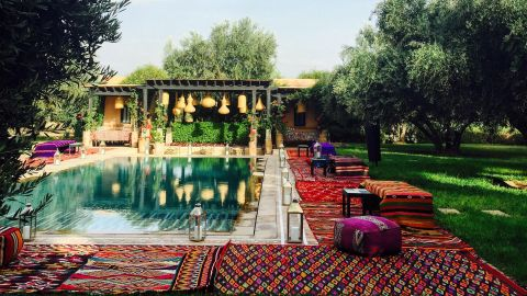 """""""I love creating a Moroccan lounge-y feel for parties outside,"""" says Maryam. """"The relaxed bohemian vice, with plenty of color and pattern, makes everyone want to dance!"""