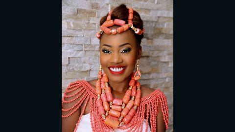 Temi Ajibola wears the  Edo bridal traditional regalia of coral beads.