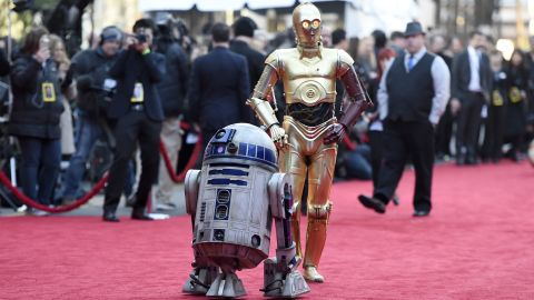 """No """"Star Wars"""" premiere would be complete without famous droids R2-D2, left, and C-3PO, who both appear in the new film."""