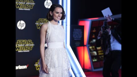 """The stars were out in full force December 14 at the world premiere of """"Star Wars: The Force Awakens."""" Newcomer Daisy Ridley plays the role of Rey in the film and thrilled the crowd with her appearance on the red carpet at the TCL Chinese Theatre in Los Angeles. Here's who else made the scene:"""