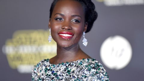 Lupita Nyong'o voices the character of Maz Kanata in the film. While she apparently isn't physically seen in the movie, Nyong'o lit up the red carpet in a metallic, shimmering full length gown.
