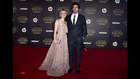 """Actor Adam Driver and his wife, Joanne Tucker. Best known for his role in HBO's """"Girls,"""" Driver plays villain Kylo Ren in the new movie."""