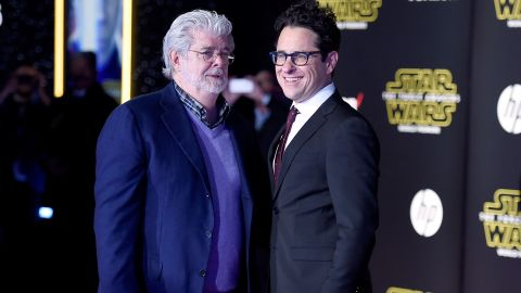 """""""Star Wars"""" creator George Lucas posed with J.J. Abrams, right, who co-wrote and directed """"Star Wars: The Force Awakens."""""""