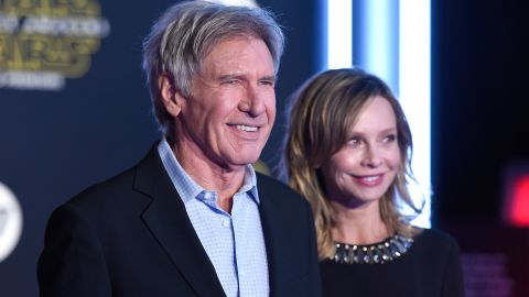 """Harrison Ford and wife Calista Flockhart. Ford returns in the new movie as now-grizzled rebel pilot Han Solo. When asked by a young colleague in the movie's trailer about his character's legendary exploits, Solo says, """"It's true. All of it."""""""